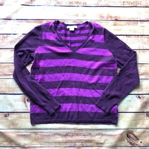Liz Claiborne Stripe Long Sleeve Sweater V Neck